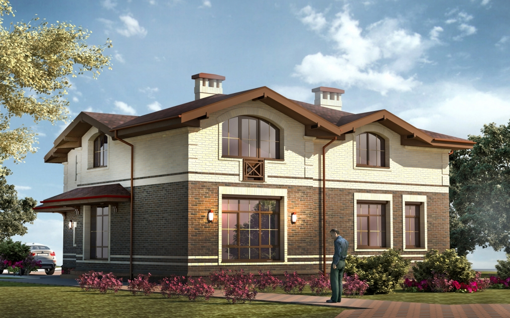 The project is a two-storey residential house with a large garage