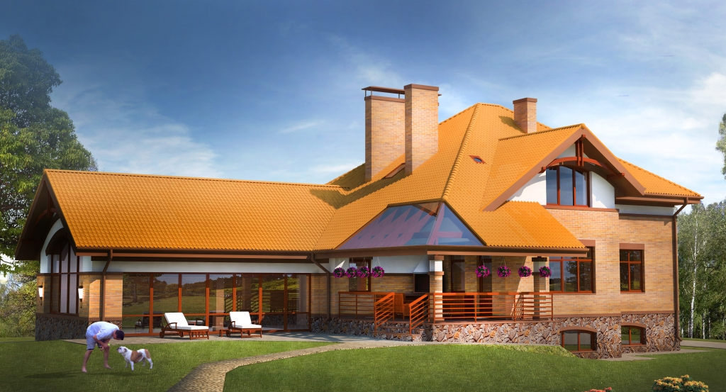 Draft country 2 storey residential building in protsev for Home architecture analogy